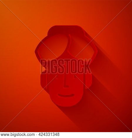 Paper Cut Portrait Of Indian Man Icon Isolated On Red Background. Hindu Men. Paper Art Style. Vector