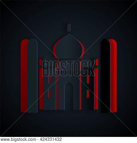 Paper Cut Taj Mahal Mausoleum In Agra, Indiaicon Isolated On Black Background. Paper Art Style. Vect