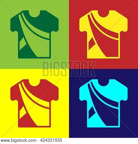 Pop Art Indian Man Dress Traditional Hindu Clothes With Long Shirt Icon Isolated On Color Background