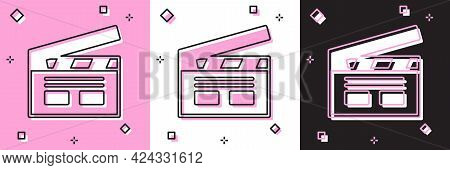 Set Bollywood Indian Cinema Icon Isolated On Pink And White, Black Background. Movie Clapper. Film C