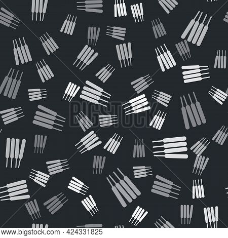 Grey Aroma Sticks, Incense, Aromas Icon Isolated Seamless Pattern On Black Background. Vector