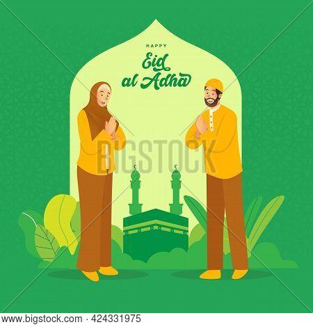 Eid Al Adha Greeting Card. Cartoon Arab Couple Celebrating Eid Al Adha With Kaaba As Background