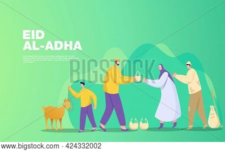 Eid Al Adha Mubarak Greeting Concept. Illustration Of Sharing The Meat Of The Sacrificial Animal Tha
