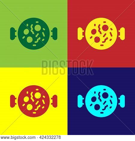 Pop Art Chicken Tikka Masala Icon Isolated On Color Background. Indian Traditional Food. Vector