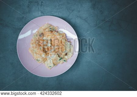 Omelet Or Omelette In Pink Dish. Top View