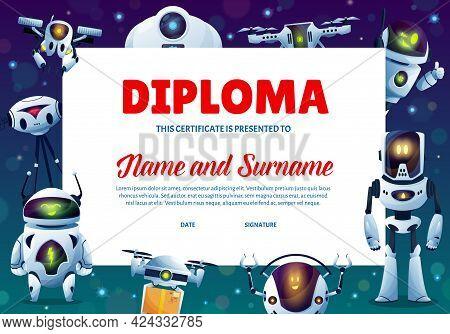 Cartoon Robots Kids Education Diploma, Vector Certificate For School Or Kindergarten With Cute Human