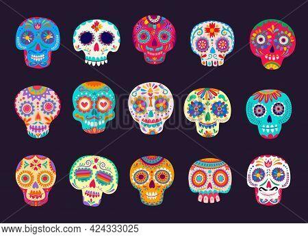 Cartoon Mexican Calavera Sugar Skulls Vector Set. Dead Day Decoration, Dia De Los Muertos Craniums W