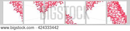 Set Of Vector Cover Notebook Design. Abstract Pink Minimal Triangles Halftone Template Design For No
