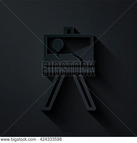 Paper Cut Wood Easel Or Painting Art Boards Icon Isolated On Black Background. Paper Art Style. Vect