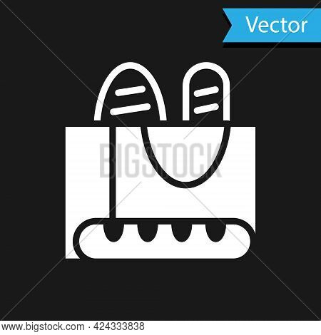 White French Baguette Bread Icon Isolated On Black Background. Vector