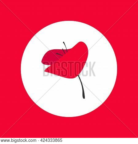 Red Poppy Flower In Red Circle. Wild Scarlet Bloom. Vector Illustration. Eco, Floral, Natural, Love