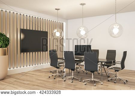 Modern Eco Style Meeting Room Interior Design With Wooden Slatted Wall And Parquet, Big Tv Screen An