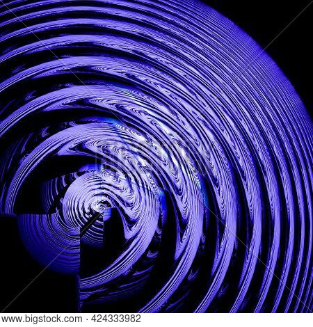 Blue-violet Circles Ripple Out From The Center On A Black Background. Abstract Fractal Background. 3