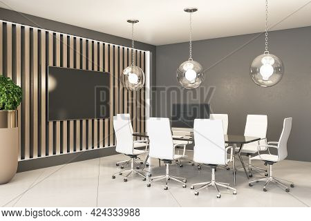 Stylish Meeting Area In Stylish Office With Big Tv On Wooden Slatted Wall, Glass Conference Table An