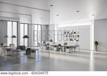 Sunny Spacious Coworking Office With White Interior Design, Stylish Minimalistic Furniture, Glass Pa