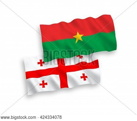 National Fabric Wave Flags Of Burkina Faso And Georgia Isolated On White Background. 1 To 2 Proporti