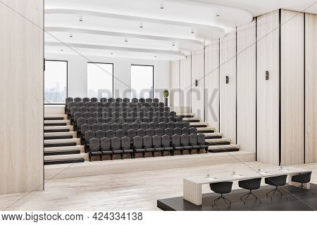 Modern Wooden Auditorium Interior With Seatings, City View And Daylight. 3d Rendering