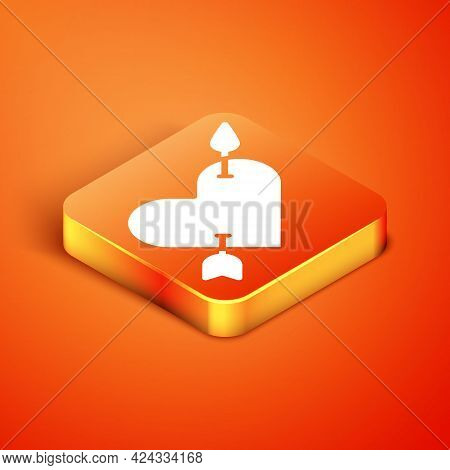 Isometric Amour Symbol With Heart And Arrow Icon Isolated On Orange Background. Love Sign. Valentine
