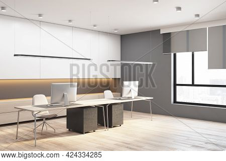 Modern Concrete And Wooden Office Interior With Window City View, Daylight And Furniture. 3d Renderi