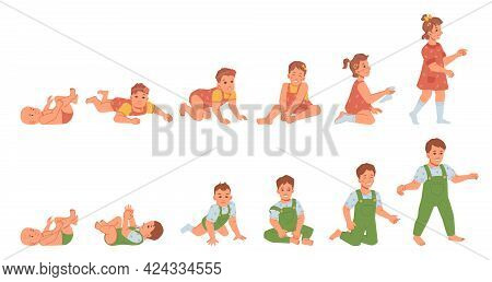 Growing Baby Boy And Girl, Development Of Male And Female Infant. From Newborn To Toddler, Cycle And