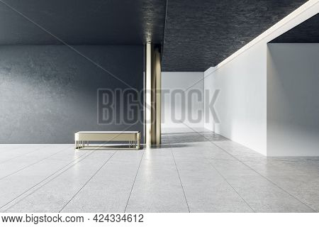 Bright Grey Concrete Gallery Interior With Panoramic Window City View, Empty Mockup Place For Your A