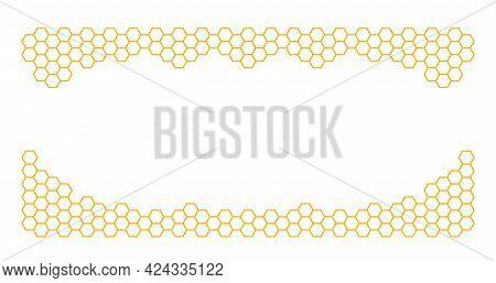 Orange Border Of Geometric Hexagons. Symbolizing The Honeycomb.