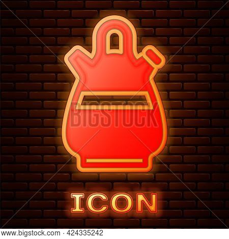 Glowing Neon Sangria Pitcher Icon Isolated On Brick Wall Background. Traditional Spanish Drink. Vect