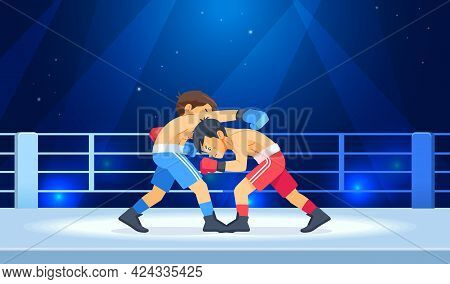 Professional Boxing Among Boys On Ring. Teen Boxing, Kickboxing Children On Arena. Young Boxers Figh
