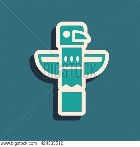 Green Canadian Totem Pole Icon Isolated On Green Background. Long Shadow Style. Vector