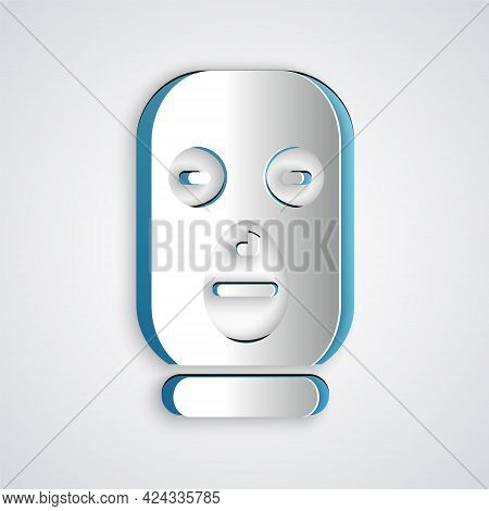 Paper Cut Thief Mask Icon Isolated On Grey Background. Bandit Mask, Criminal Man. Paper Art Style. V