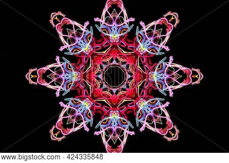 Abstract Shape Of Bright Multicolored Threads Isolated On A Black Background With 3d Effect