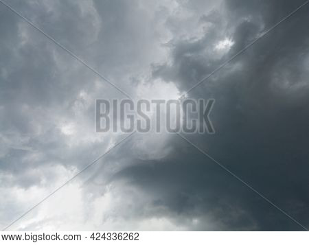 Abstract Ominous Dramatic Clouds, Stormy Dangerous Weather Forecast, Dark Clouds In Sky