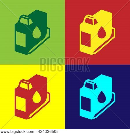 Pop Art Printer Ink Cartridge Icon Isolated On Color Background. Vector