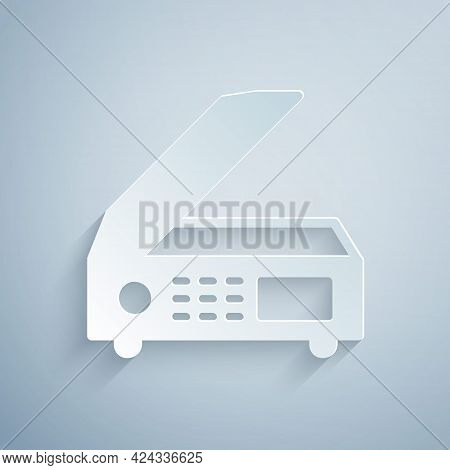 Paper Cut Scanner Icon Isolated On Grey Background. Scan Document, Paper Copy, Print Office Scanner.