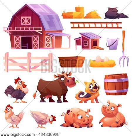 Domestic Animals And Poultry, Barn And Chicken Coop Isolated Icons Set. Collection Of Farm Animals,