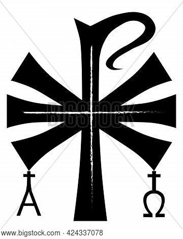 Xp Is The Early Christian Sign. Chi Ro , Chrism Or Chrismon. Monogram Of The Name Of  Jesus Christ.