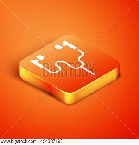 Isometric Air Headphones Icon Icon Isolated On Orange Background. Holder Wireless In Case Earphones