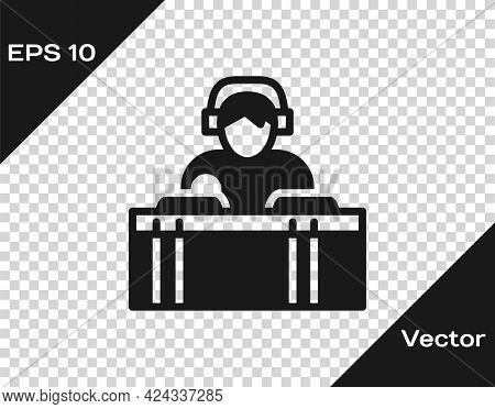 Black Dj Wearing Headphones In Front Of Record Decks Icon Isolated On Transparent Background. Dj Pla