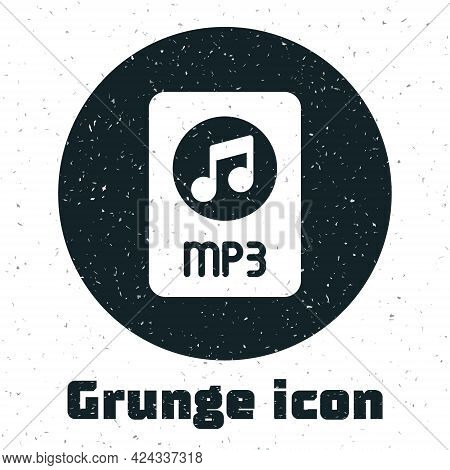 Grunge Mp3 File Document. Download Mp3 Button Icon Isolated On White Background. Mp3 Music Format Si