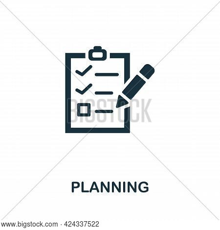Planning Icon. Monochrome Simple Element From Personal Growth Collection. Creative Planning Icon For