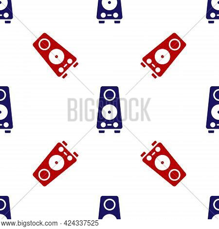 Blue And Red Stereo Speaker Icon Isolated Seamless Pattern On White Background. Sound System Speaker