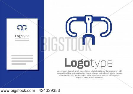Blue Bicycle Handlebar Icon Isolated On White Background. Logo Design Template Element. Vector