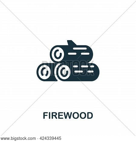 Firewood Icon. Monochrome Simple Element From Sauna Collection. Creative Firewood Icon For Web Desig