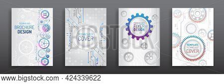 Contemporary Science And Digital Technology Concept. Vector Template For Brochure Or Cover With Gear