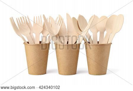 Wooden Forks, Spoons And Knives In Disposable Paper Cups Isolated On White Background. Eco Friendly