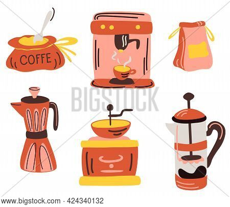 Coffee Tool And Utensils. Coffee Machine, French Press, Geyser Coffee Maker,  Coffee Grinder. Set Of