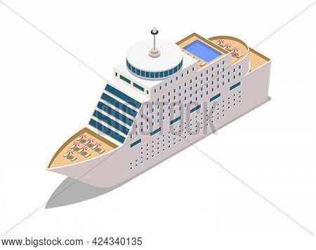 Modern Luxury Cruise Liner 3d Isometric Vector Illustration