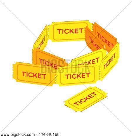 Isometric Yellow Retro Ticket Stubs Icon On White Background Vector Illustration