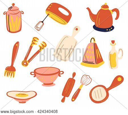 Kitchen Accessories Set. Kitchenware And Utensils. Hand Mixer, Grater, Whisk, Chopping Board, Cans,