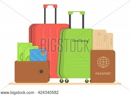 Travel Bags Packed For Summer Vacation On The Seaside, Vector Illustration. Various Baggage Suitcase